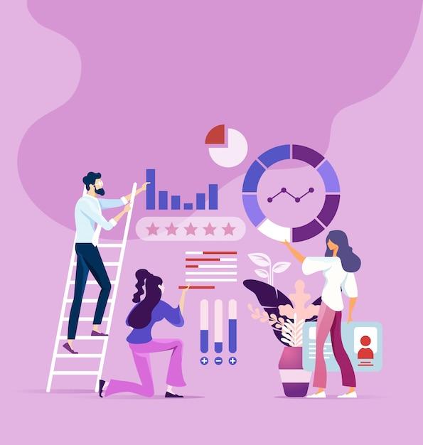Processo de trabalho em equipe e conceito de pesquisa de marketing Vetor Premium