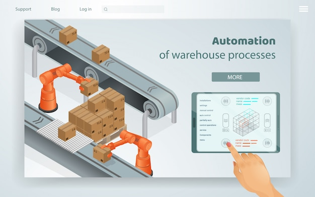 Processos de armazém de automação de ilustração da web. Vetor Premium