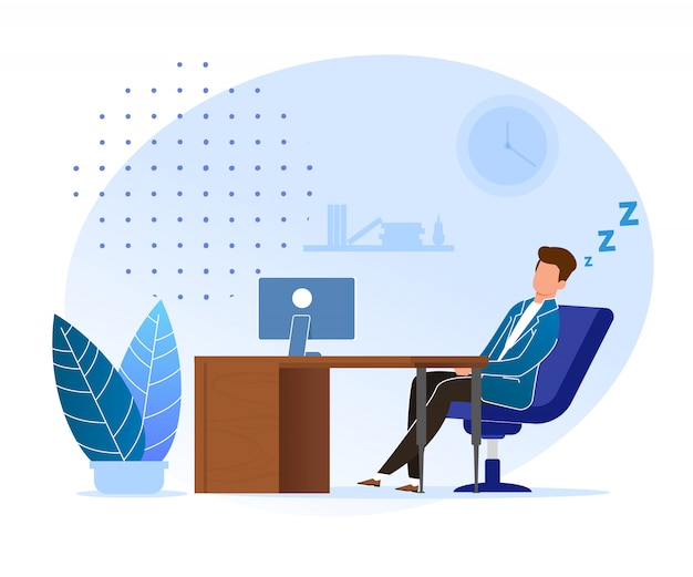 Procrastinação à espera dos desenhos animados da hora certa. homem, dormir, em, trabalho, escritório Vetor Premium