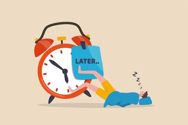 Procrastinação faça mais tarde, adie para trabalhar amanhã, conceito improdutivo e desculpa Vetor Premium