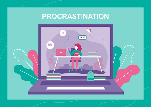 Procrastinar mulher na tela do laptop Vetor Premium