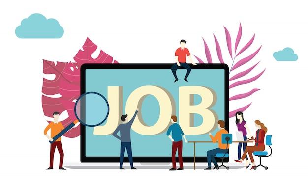 Procura de emprego ou recrutamento Vetor Premium
