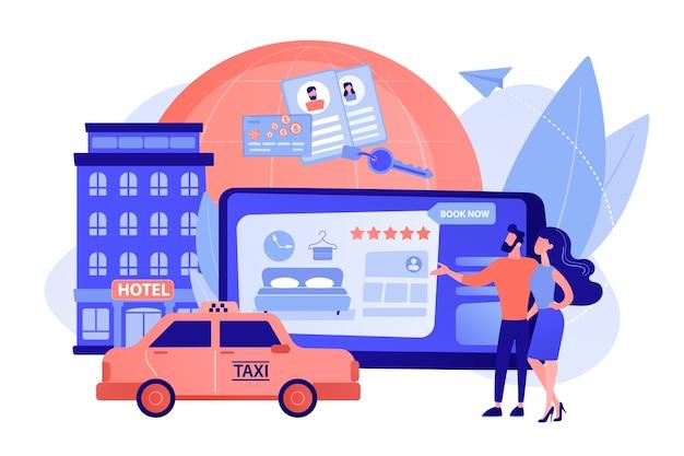 Procurando albergue, acomodação. pedindo táxi, táxi Vetor grátis