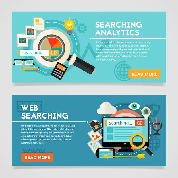 Procurando banner de conceito de analytics. composição quadrada Vetor Premium