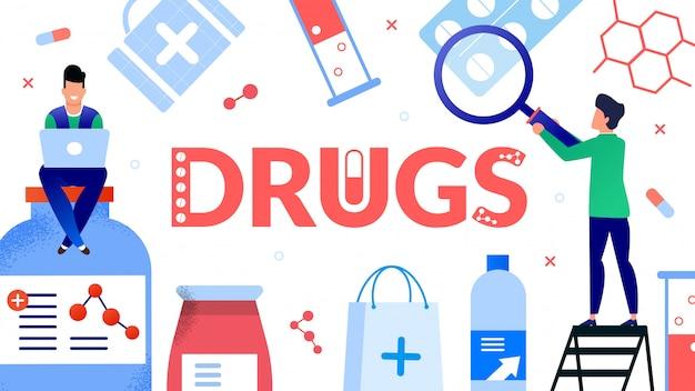 Procurando drogas na farmácia on-line Vetor Premium