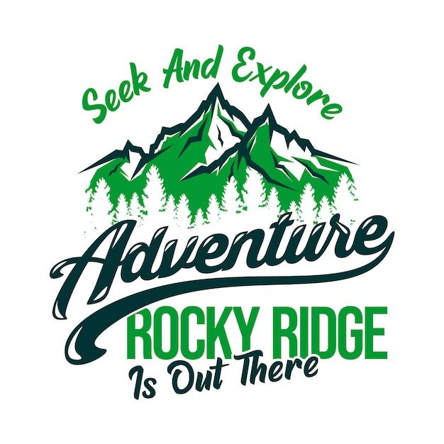 Procure e explore cume rochoso de aventura está lá fora. Vetor Premium