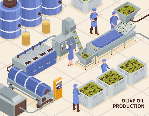 Produção de azeite isométrica Vetor grátis