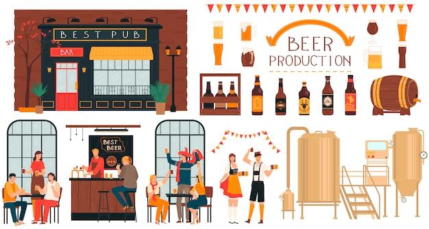 Produção de cerveja cervejaria, pessoas no bar, conjunto de personagens de desenhos animados em branco, ilustração Vetor Premium
