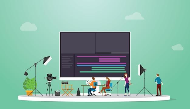 Produção de filmes ou vídeos com editor de vídeo em equipe com algumas ferramentas para editar vídeos com estilo moderno e plano. Vetor Premium