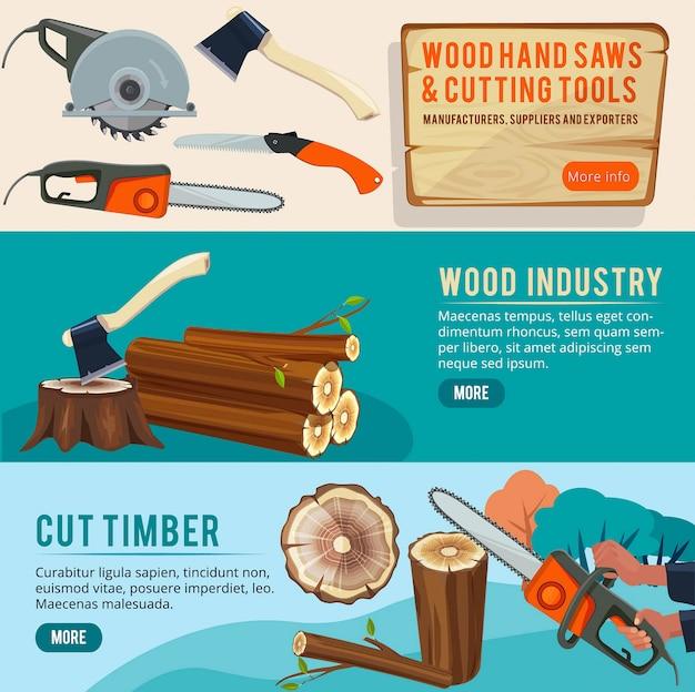 Produção de madeira. banners de madeira fotos ilustrações de ferramentas de corte de troncos de pilha de lenhador Vetor Premium