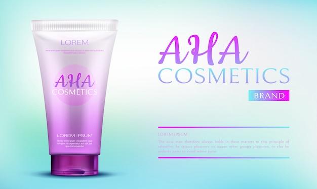 Produto de beleza dos cosméticos de aha no recipiente cor-de-rosa do tubo no fundo azul da propaganda do inclinação. Vetor grátis