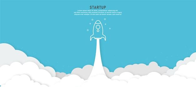 Produto de conceito de lançamento de foguete de fundo de inicialização Vetor Premium