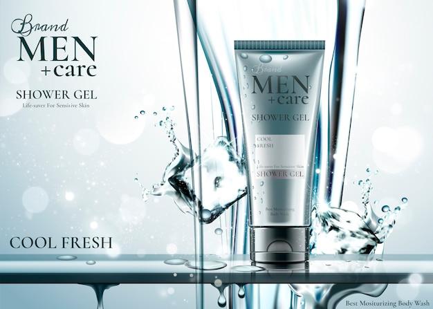 Produto de cuidados masculinos com cubos de gelo, água pura escorrendo de cima Vetor Premium