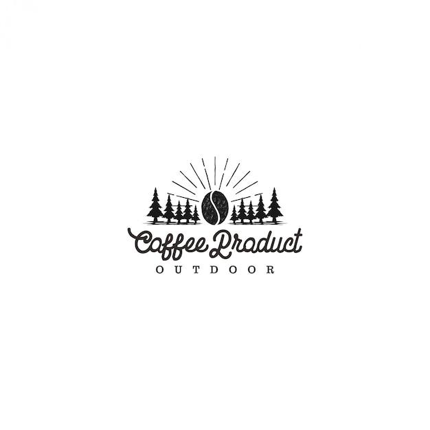 Produto de logotipo ao ar livre de café, atividade ao ar livre de aventura de acampamento Vetor Premium
