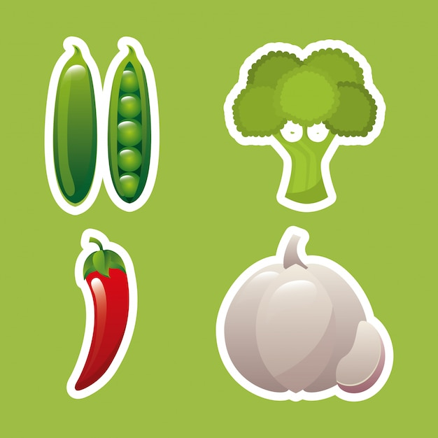 Produtos agrícolas frescos Vetor Premium