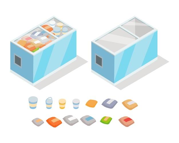 Produtos congelados no vetor isométrico de geladeira de loja Vetor Premium