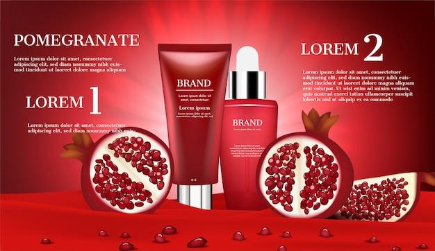 Produtos cosméticos com fatia de romã e pequenas sementes na flanela vermelha Vetor Premium