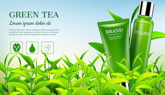 Produtos cosméticos com pequenas árvores Vetor Premium