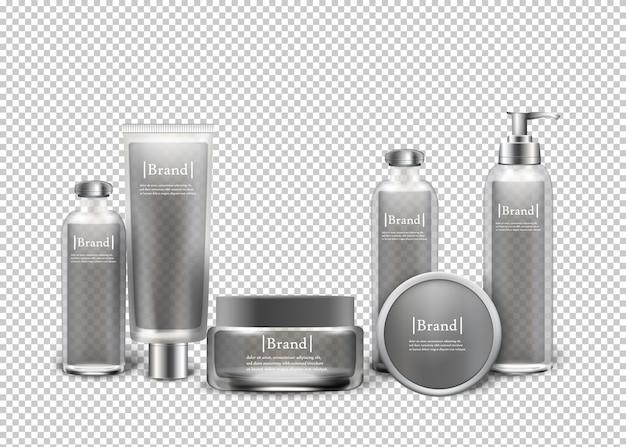 Produtos cosméticos luxuosos isolados em uns frascos. Vetor Premium