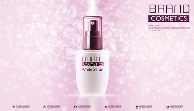 Produtos cosméticos no modelo de cor e texto rosa Vetor Premium