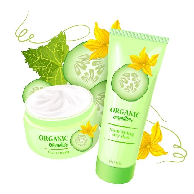Produtos cosméticos orgânicos com morangos Vetor grátis