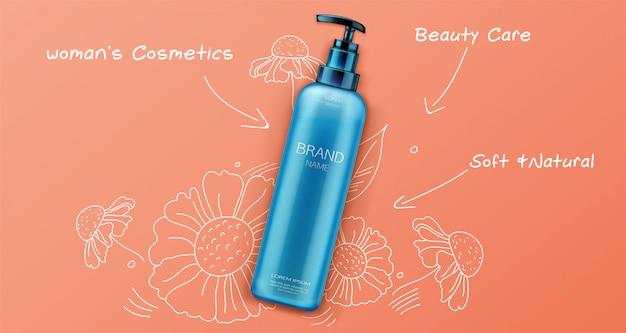 Produtos de beleza natural cosméticos para cuidados com o rosto ou corpo em laranja Vetor grátis