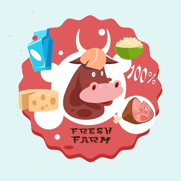 Produtos de carne de leite de vaca fresh eco farm logo Vetor Premium