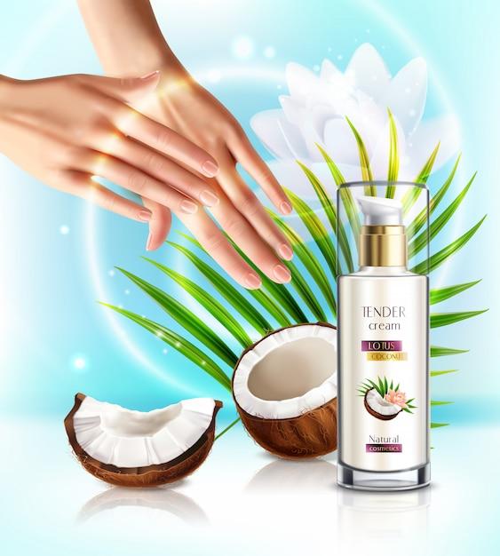Produtos de coco natural cosméticos bomba dispensador de produtos composição de publicidade realista com mulher aplicar creme para as mãos Vetor grátis