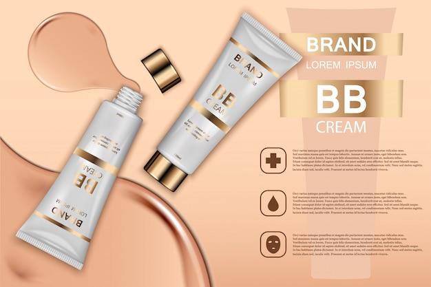 Produtos de cosmética de toner de pele ad. ilustração 3d. Vetor Premium
