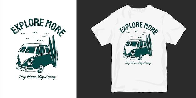 Produtos de design de camisetas van life Vetor Premium