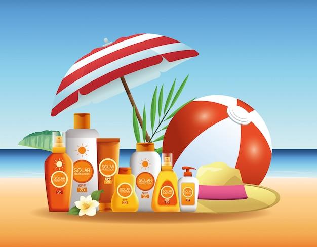 Produtos de garrafas de proteção solar para publicidade de verão Vetor grátis
