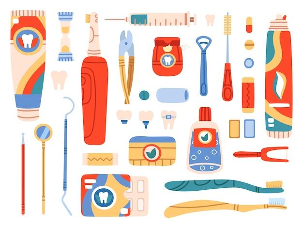 Produtos de higiene oral e ferramentas de limpeza Vetor Premium