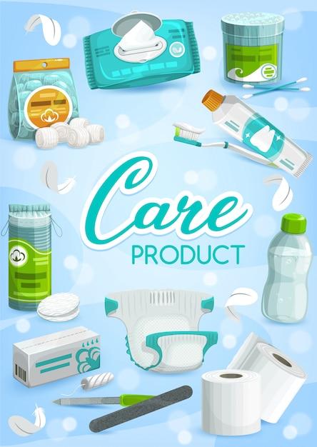 Produtos de higiene pessoal e de saúde Vetor Premium