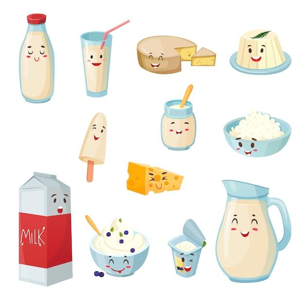 Produtos de leite com conjunto de desenhos animados de sorrisos Vetor grátis