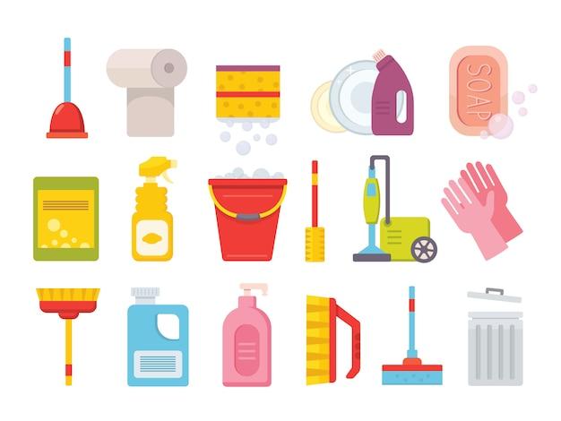 Produtos de limpeza. ferramentas limpas em casa. escova, lenços de janela de balde e conjunto de ferramentas de produtos químicos isolado Vetor Premium