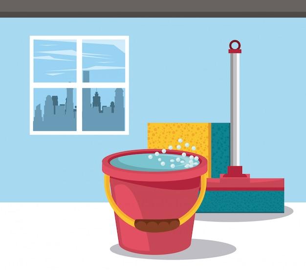 Produtos de limpeza para desenhos animados em casa Vetor grátis