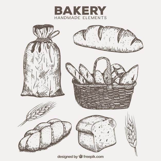 Produtos de panificação desenhados mão com a cesta e farinha Vetor grátis