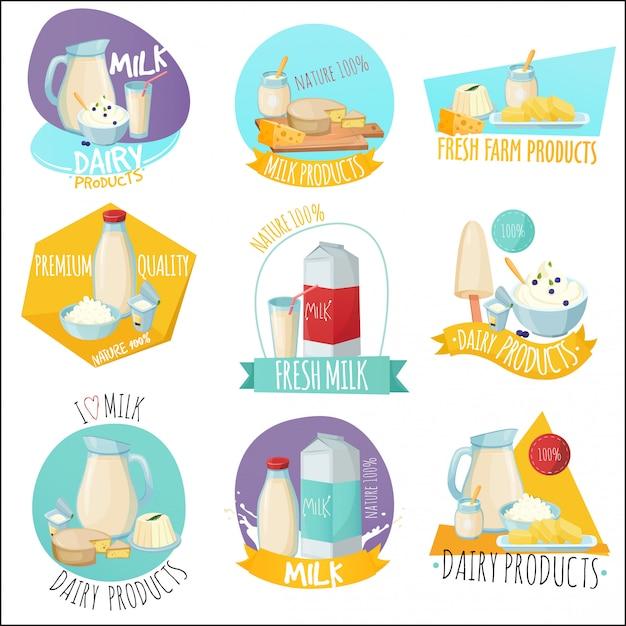 Produtos lácteos conjunto de logotipos Vetor grátis