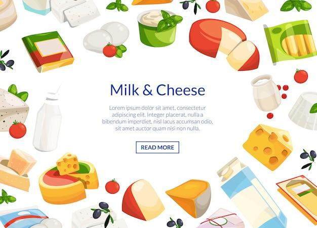 Produtos lácteos e queijo dos desenhos animados Vetor Premium