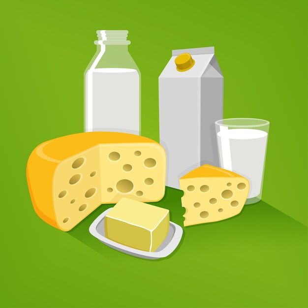 Produtos lácteos em um fundo verde Vetor Premium