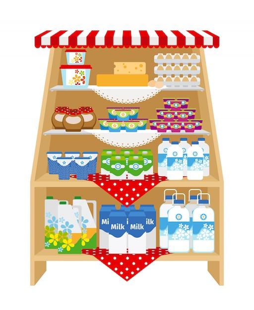 Produtos lácteos nas prateleiras das lojas Vetor Premium