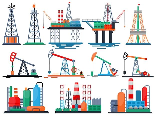 Produtos oleosos de vetor de indústria de óleo oleada tecnologia produzindo conjunto de bomba de combustível de perfuração de guindaste de equipamento industrial isolado Vetor Premium