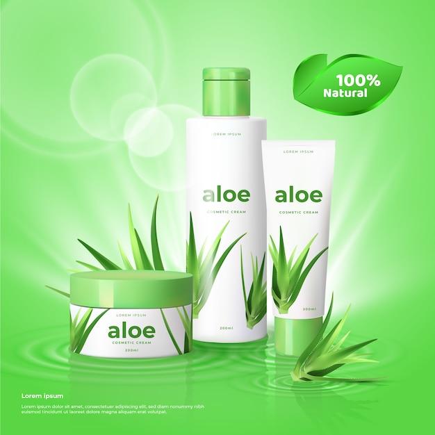 Produtos para a pele com cosméticos aloe Vetor grátis