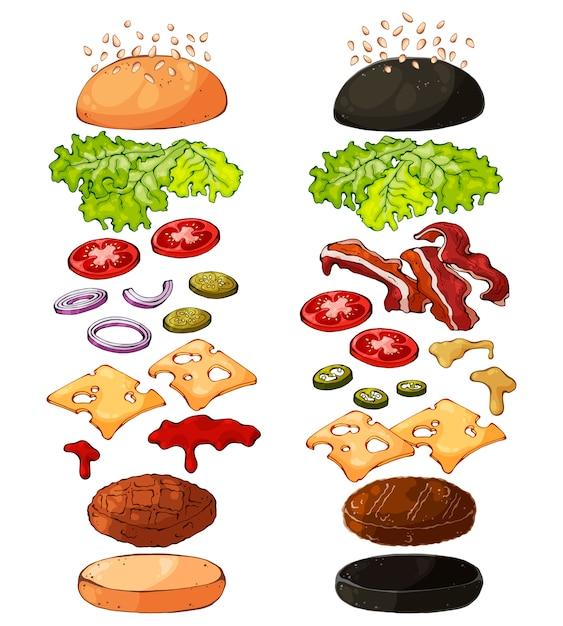 Produtos para cozinhar hambúrgueres. Vetor Premium