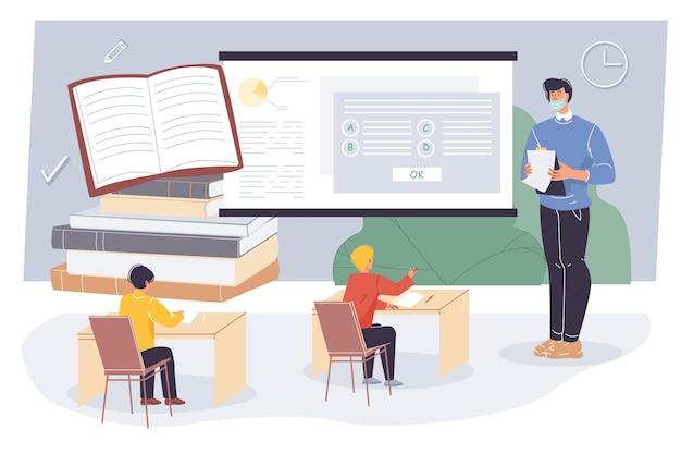 Professor apartamento de desenho animado e alunos, personagens de alunos fazem o exame de teste em sala de aula Vetor Premium