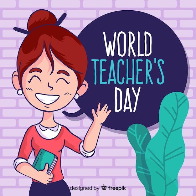 Professor de composição de dia de professores de mundo Vetor grátis