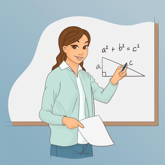 Professor de matemática explicando aritmética Vetor Premium