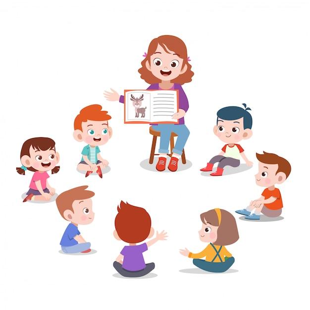Professor e aluno em sala de aula Vetor Premium
