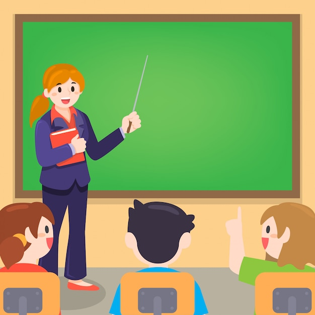 Professor e aluno na aula na sala de aula Vetor Premium