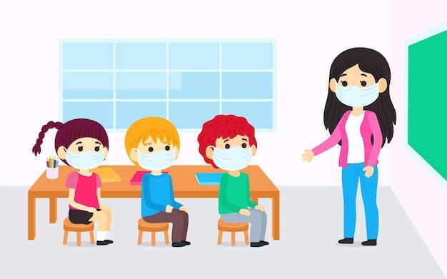 Professor e alunos usando máscara facial na aula Vetor Premium